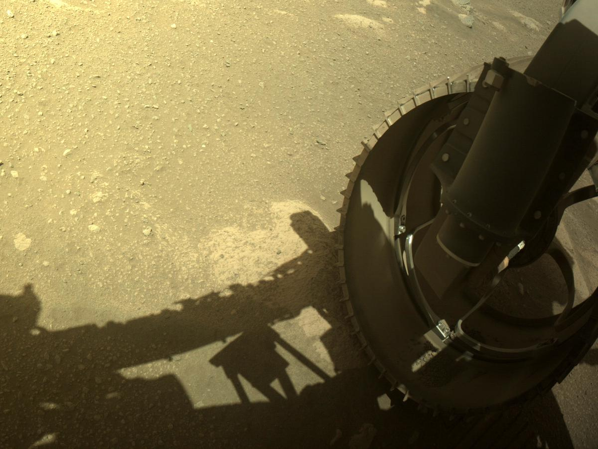 This image was taken by FRONT_HAZCAM_RIGHT_A onboard NASA's Mars rover Perseverance on Sol 43