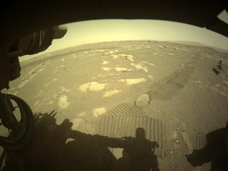 View image taken on Mars, Mars Perseverance Sol 44: Front Left Hazard Avoidance Camera (Hazcam)