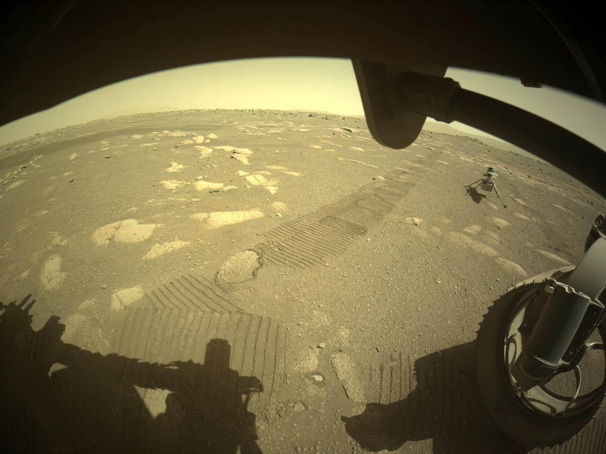 This image was taken by FRONT_HAZCAM_RIGHT_A onboard NASA's Mars rover Perseverance on Sol 44