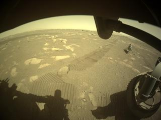 View image taken on Mars, Mars Perseverance Sol 44: Front Right Hazard Avoidance Camera (Hazcam)