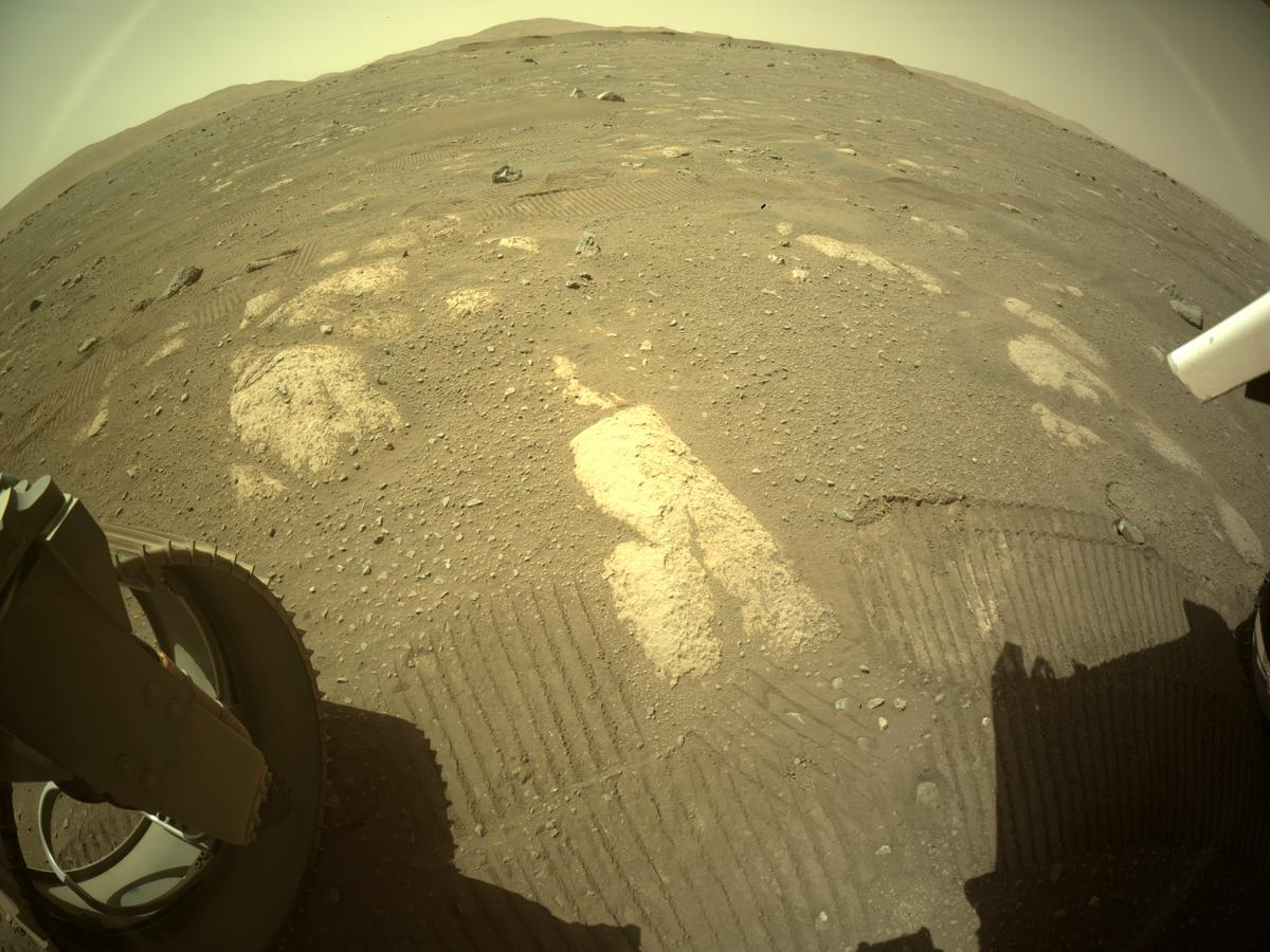 This image was taken by REAR_HAZCAM_LEFT onboard NASA's Mars rover Perseverance on Sol 44