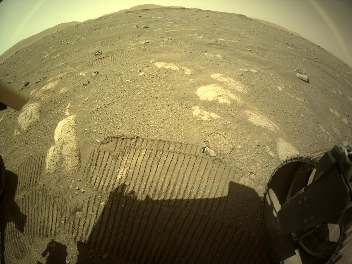 This image was taken by REAR_HAZCAM_RIGHT onboard NASA's Mars rover Perseverance on Sol 44