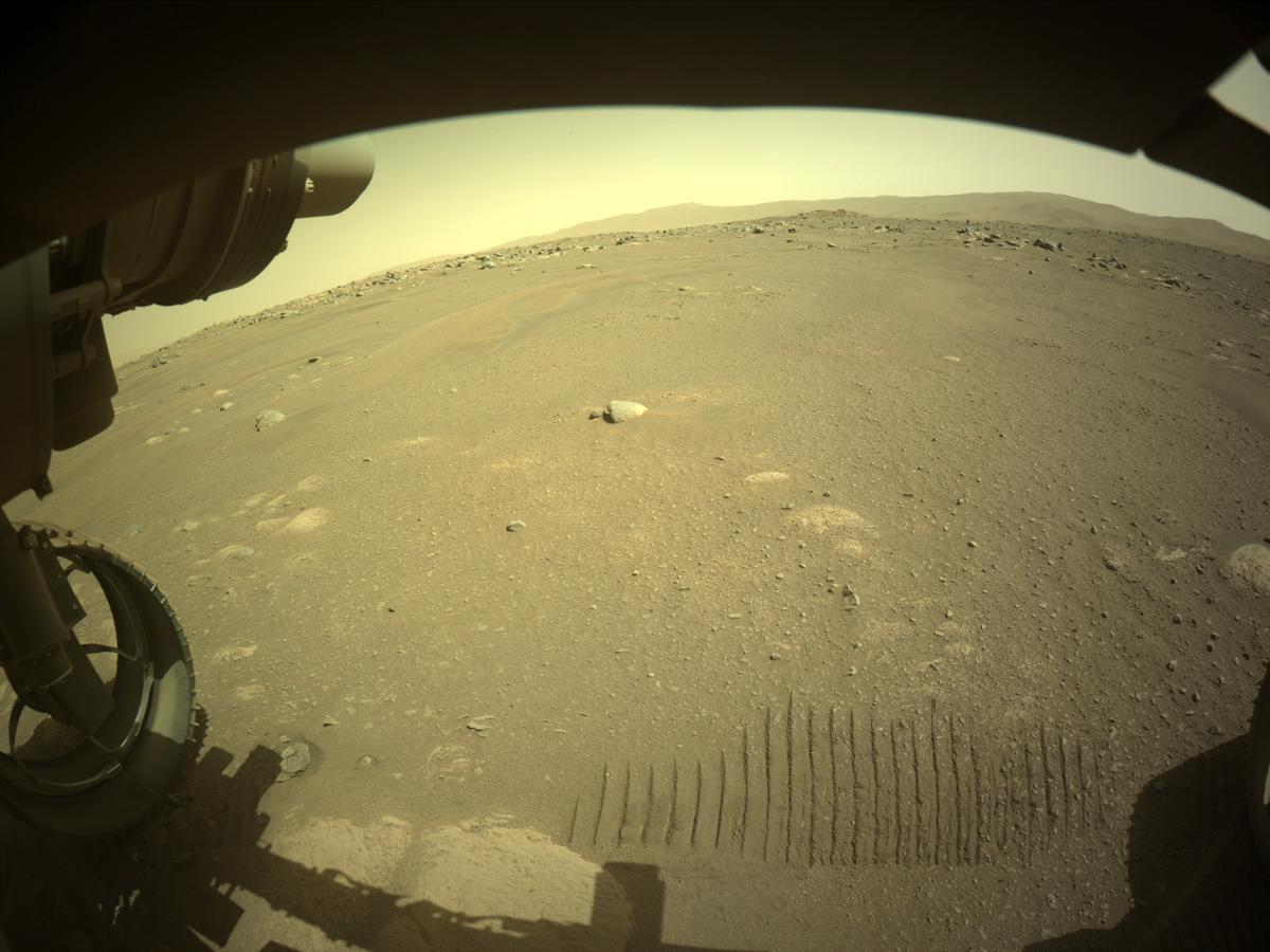 This image was taken by FRONT_HAZCAM_LEFT_A onboard NASA's Mars rover Perseverance on Sol 47