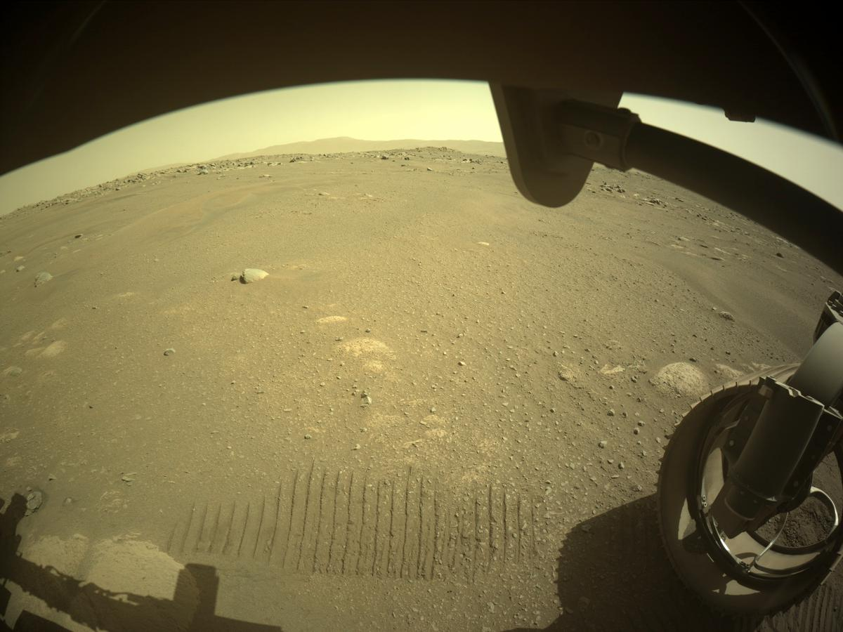 This image was taken by FRONT_HAZCAM_RIGHT_A onboard NASA's Mars rover Perseverance on Sol 47