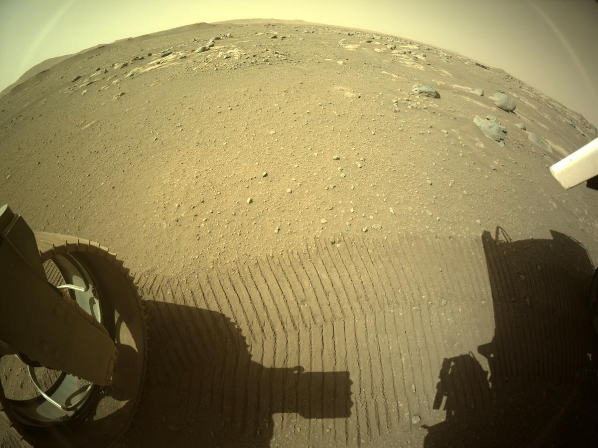 This image was taken by REAR_HAZCAM_LEFT onboard NASA's Mars rover Perseverance on Sol 47