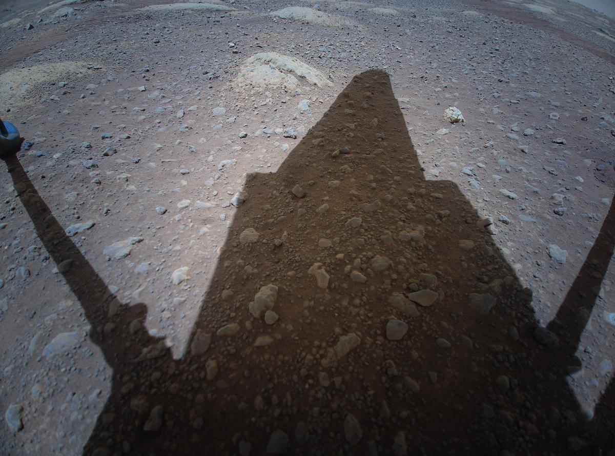 This image was taken by HELI_RTE onboard NASA's Mars rover Perseverance on Sol 48