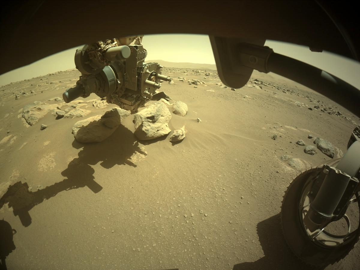 This image was taken by FRONT_HAZCAM_RIGHT_A onboard NASA's Mars rover Perseverance on Sol 54