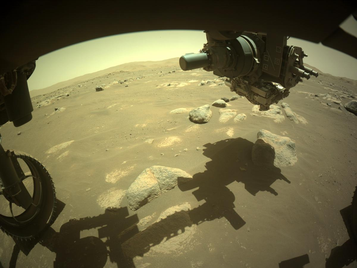 This image was taken by FRONT_HAZCAM_LEFT_A onboard NASA's Mars rover Perseverance on Sol 98