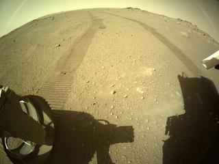 View image taken on Mars, Mars Perseverance Sol 110: Rear Left Hazard Avoidance Camera (Hazcam)