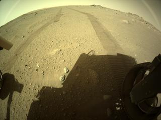 View image taken on Mars, Mars Perseverance Sol 110: Rear Right Hazard Avoidance Camera (Hazcam)