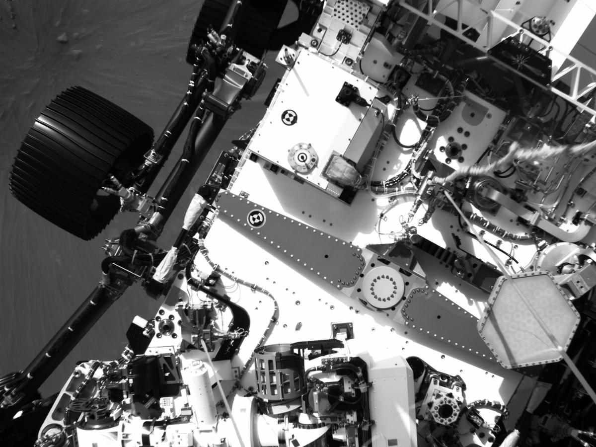 This image was taken by EDL_DDCAM onboard NASA's Mars rover Perseverance on Sol 121