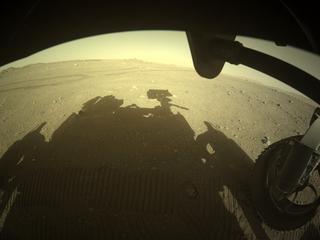 View image taken on Mars, Mars Perseverance Sol 122: Front Right Hazard Avoidance Camera (Hazcam)