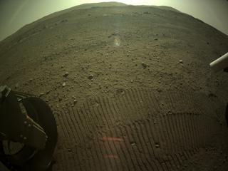 View image taken on Mars, Mars Perseverance Sol 122: Rear Left Hazard Avoidance Camera (Hazcam)