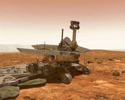 Le rover Spirit, dessin d'artiste (crédit JPL/NASA)