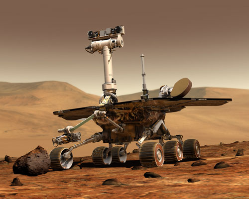 Artist's conception of the Mars Exploration Rovers at work