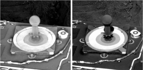 This pair of black-and-white images shows two views of a black peg taken at different times of day. The peg sticks up from the middle of a small square plate bearing three concentric circles of different colors. On the left, the peg is grayish-white, covered with a veneer of frost. On the right, the peg is black after the frost has melted.
