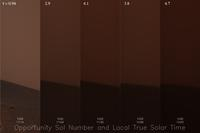This approximate-true color composite is divided into five long, thin strip images that represent the sky Opportunity has been 'seeing' in its last 30 days.  The image on the far left shows a light pink/orange sky.  As the images go across, to the right, the sky darkens ending with the image on the far right where the sky is a very dark maroon color and the sunlight is nearly non-existent.
