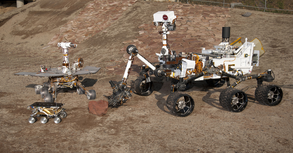 comparing three mars rovers A mars rover is an automated motor vehicle that propels itself across the surface  of the planet  mars 3, prop-m rover, 1971, lost when mars 3 lander stopped   comparison of embedded computer systems on board the mars rovers curiosity .