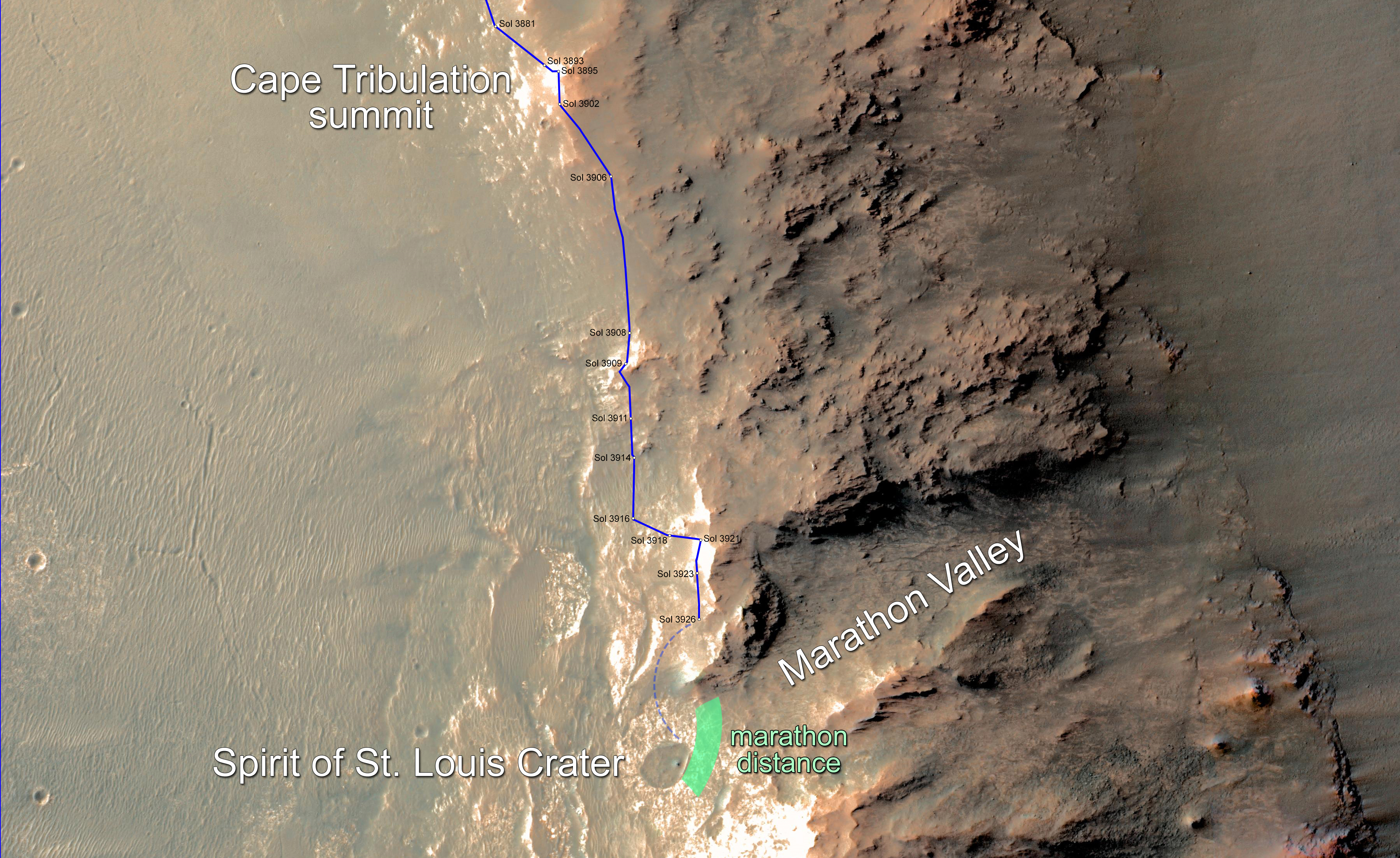 In february 2015 nasa s mars exploration rover opportunity is approaching a cumulative driving distance on mars equal to the length of a marathon race