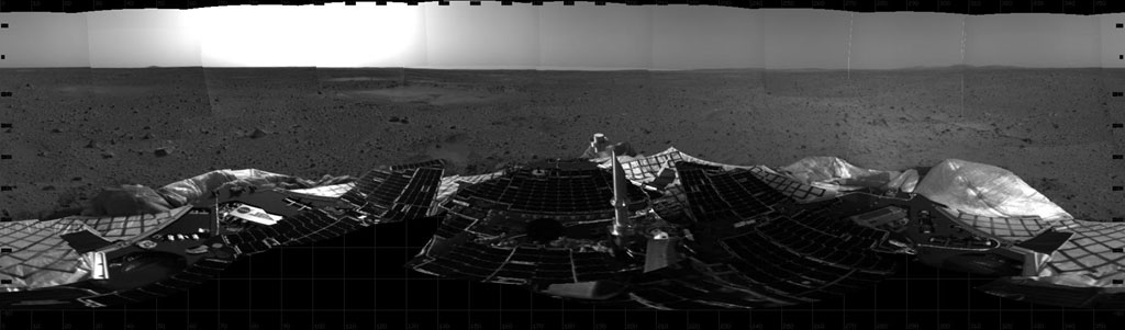 Mosaic of images taken by the MER Spirit navigation camerashowing a 360 degree panoramic view of the landing site Source: NASA/JPL image PIA04980_br.jpg