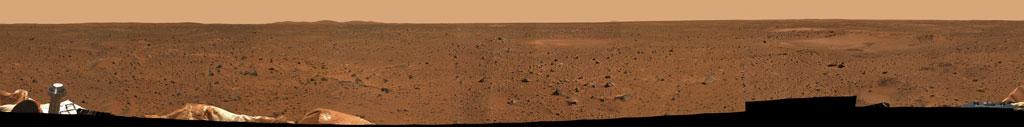 Panorama del lugar de descenso del Spirit (Coraje) de la NASA.