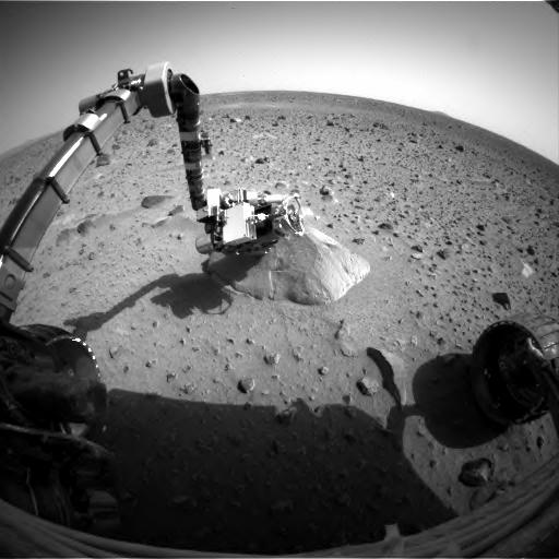 The image from the rover's front hazard-avoidance camera shows