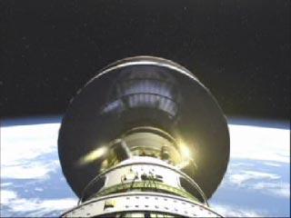 Avant que la propulsion finale ne soit donnée par le troisième étage, celui-ci est mis en tournoiement par de petits moteurs.
