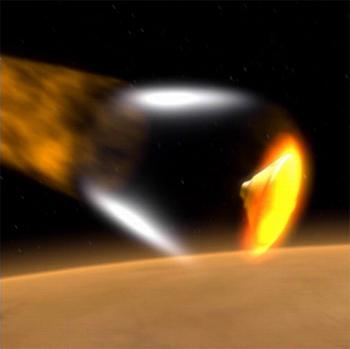 Picture of spacecraft entering martian atmosphere