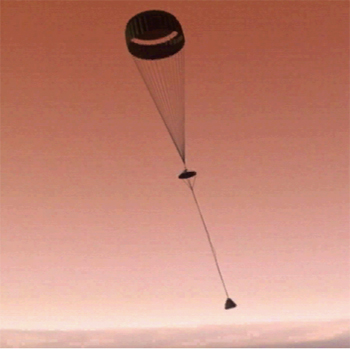 Picture of lander with parachute