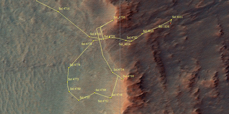 Opportunity traverse map: sol 4836