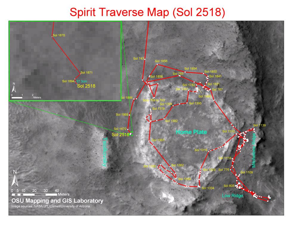 Map Of Arizona 1858.Mars Exploration Rover Mission Spirit Traverse Maps