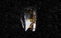 La nave Mer-B con el Oportunity inicia su camino a Marte, la nave madre, con forma de trompo se orienta con el escudo t�rmico c�nico en direcci�n al planeta rojo, mientras que su lado opuesto en forma de disco tapizado de celdas fotovoltaicas mira hacia la Tierra. All� se aloja su peque�a antena de comunicaciones con la nave.