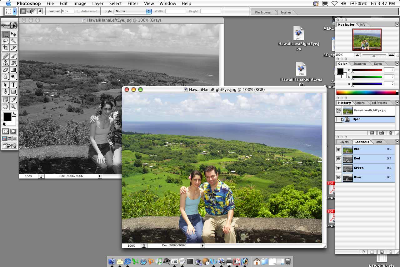 This series of screenshots illustrates the steps outlined in the story describing how to make 3-D images. The images used here are Gorjian and his fiance's Hawaiian vacation photos.