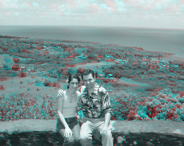 Gorjian and his fiance in Hawaii in 3-D.
