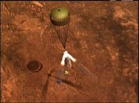La Spirit luego de frenar con su escudo térmico, desplegará paracaídas y retrocohetes para frenar su descenso.