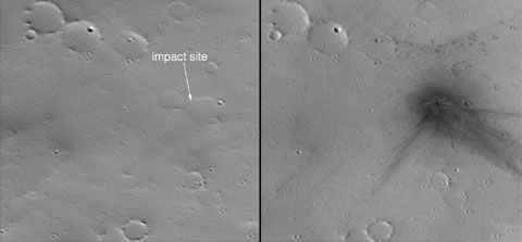 This image shows a gully site as it appeared on Dec. 22, 2001. Sunlight illuminates each scene from the northwest (top left). The 150-meter scale bar represents 164 yards.