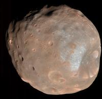 This image shows Mars moon Phobos from 6,800 Kilometers.