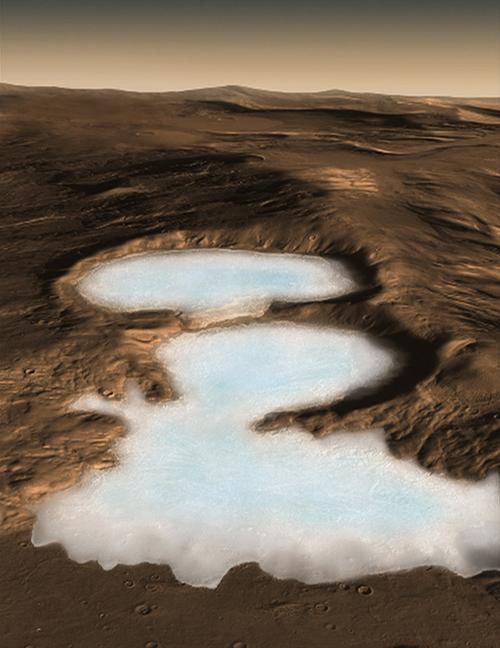 Découverte de glaciers sur Mars aux lattitudes moyennes