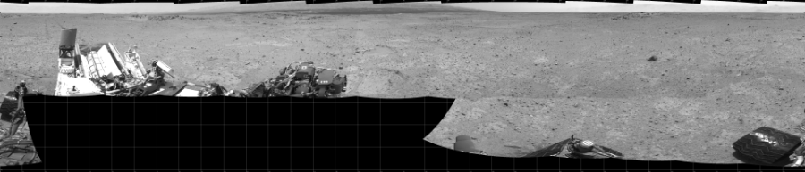This Cylindrical image was acquired by NASA's Mars rover Curiosity on Sol 361, at drive 244, site number 12.