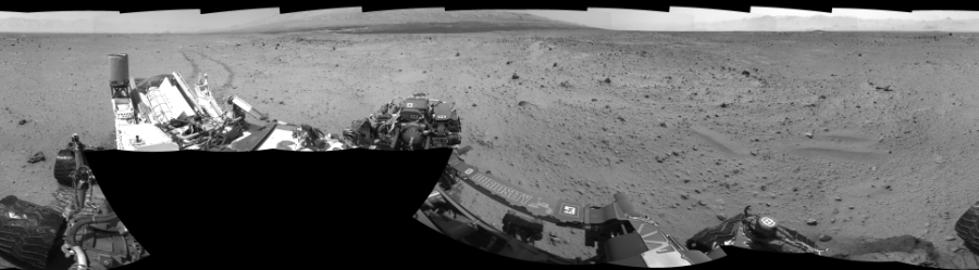 This Cylindrical Perspective image was acquired by NASA's Mars rover Curiosity on Sol 372, at drive 0, site number 14.