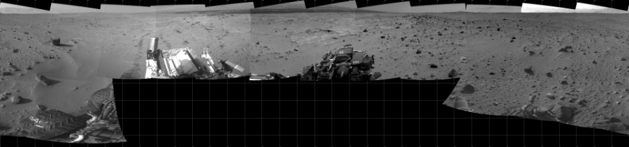 This Cylindrical image was acquired by NASA's Mars rover Curiosity on Sol 402, at drive 328, site number 16.