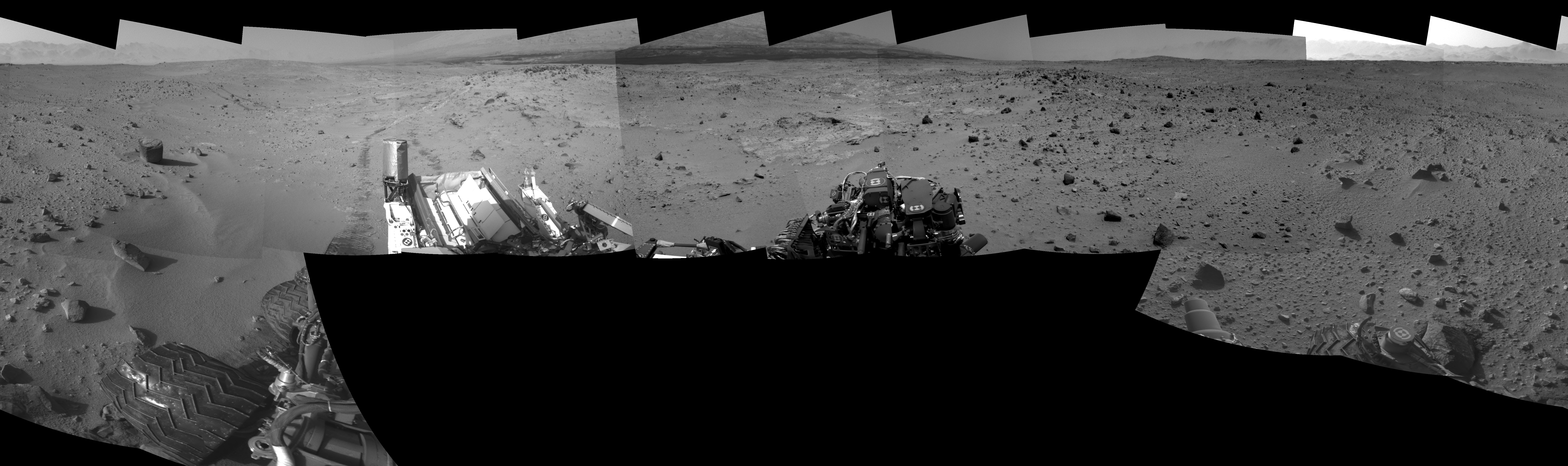 This Cylindrical Perspective image was acquired by NASA's Mars rover Curiosity on Sol 402, at drive 328, site number 16.