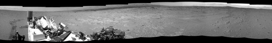 This Cylindrical Perspective image was acquired by NASA's Mars rover Curiosity on Sol 408, at drive 0, site number 17.