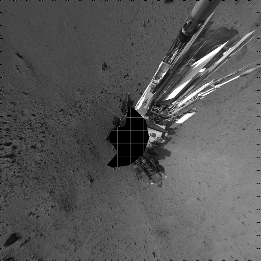 This Vertical Projection image was acquired by NASA's Mars rover Curiosity on Sol 424, at drive 1066, site number 19.
