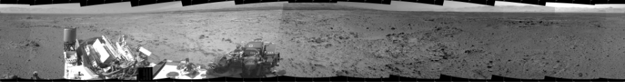 This Cylindrical image was acquired by NASA's Mars rover Curiosity on Sol 454, at drive 0, site number 23.