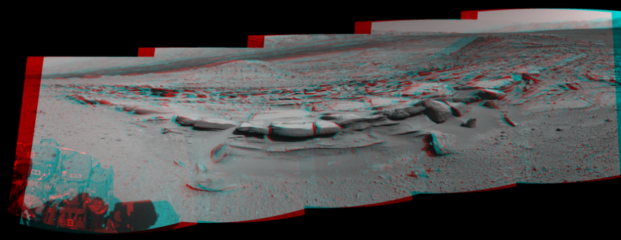 This 3D Mosaics image was acquired by NASA's Mars rover Curiosity on Sol 574, at drive 740, site number 30.