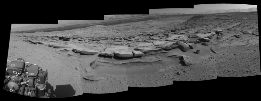 This Cylindrical Perspective image was acquired by NASA's Mars rover Curiosity on Sol 574, at drive 740, site number 30.