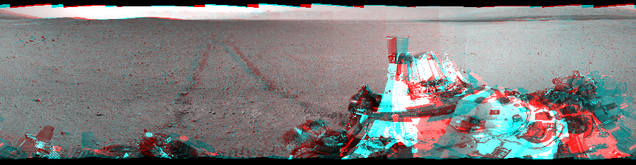 This 3D Mosaics image was acquired by NASA's Mars rover Curiosity on Sol 29, at drive 0, site number 4.