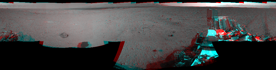 This 3D Mosaics image was acquired by NASA's Mars rover Curiosity on Sol 43, at drive 2002, site number 4.