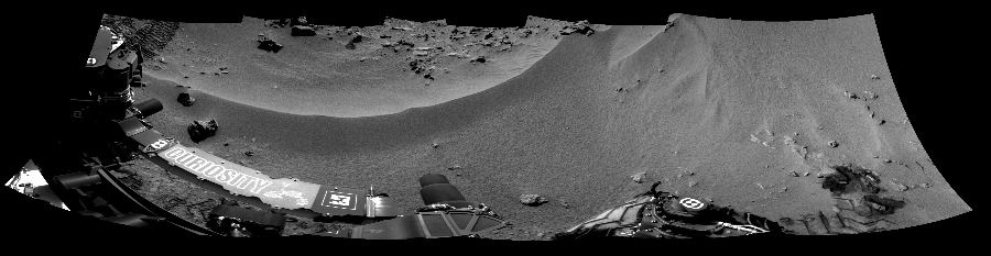 This Cylindrical Perspective image was acquired by NASA's Mars rover Curiosity on Sol 56, at drive 3474, site number 4.